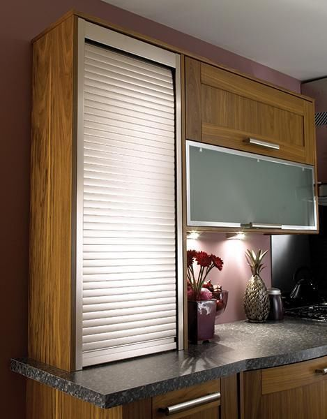 Door kits tambour and shutters on pinterest for Metal cabinet doors kitchen