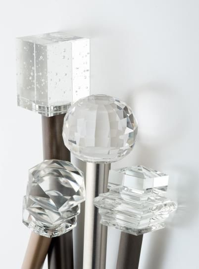 Not sure I necessarily like any of these but just collecting ideas...  Crystal Finials for curtain rods #windowtreatments #curtainrods #finials