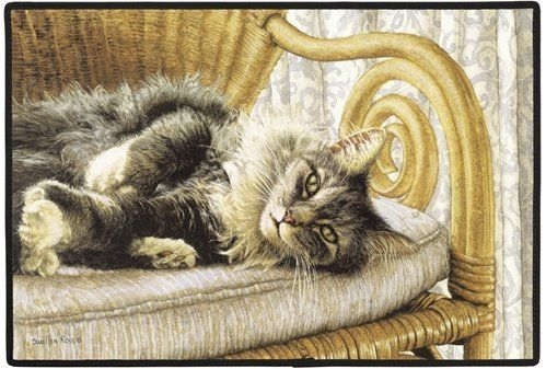 """Fiddler's Cat All Thumbs Indoor/Outdoor Doormat by FE. $23.95. Fiddler's Elbow. USA Made. 27"""" X 18"""" 100% Polyester face, permanently dye printed & fade resistant, non-skid rubber backing, durable polypropylene web trim. Hand wash hose off and air dry. Original Copyrighted Art by Sue Ellen Ross ."""