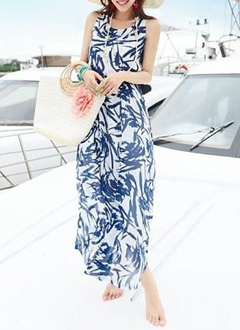 Bohemian Women's Sleeveless Scoop Neck Printed Ankle-Length Dress. At Checkout Apply this Discount Code and Get $25 Off on $200 Purchasing or more at Sammydress.