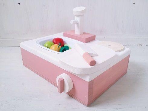 おままごとキッチン コンパクトな卓上キッチン 食材4点付き