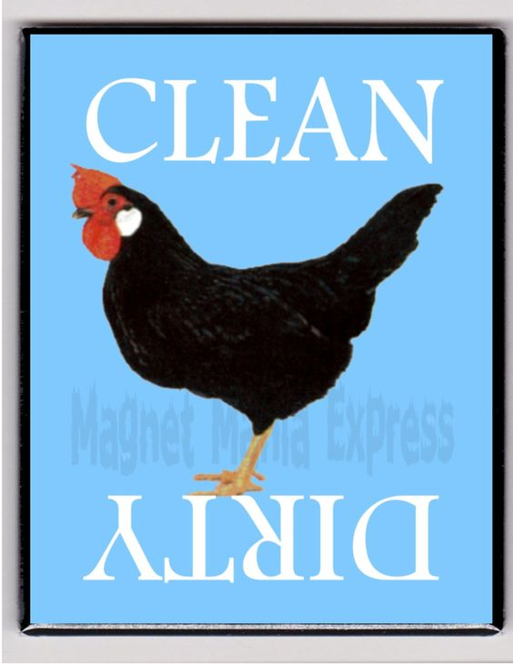 Metal Dishwasher Magnet Black Rooster Chicken Bird Clean Dirty Dishes Magnet X