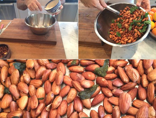 The key is to coat the raw almonds with salted water before they roast so the salt seeps in.
