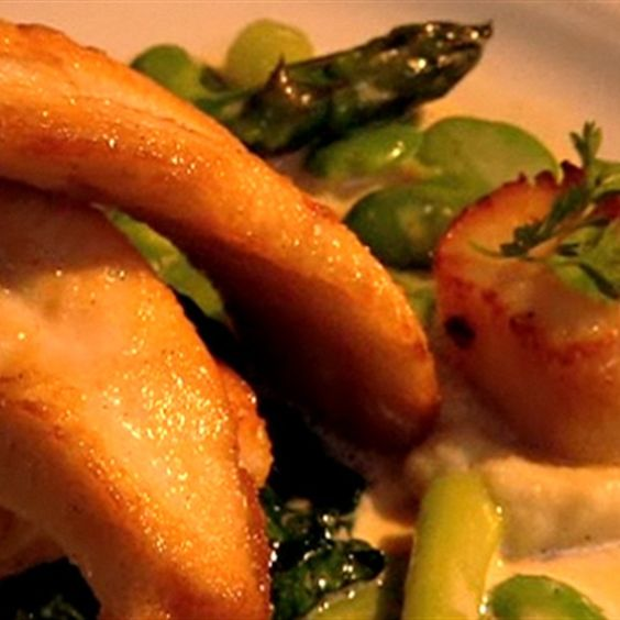 Try this John Dory and Scallops with Vanilla Almond Sauce recipe by Chef James McDonald