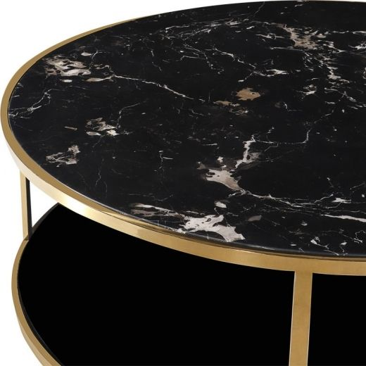 Table Basse Ronde Dore Luxor Avec Dessus En Marbre Noir Tables Basses Table Basse Ronde Table Basse Marbre Table Marbre