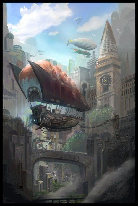 A beautiful Steampunk city with an airship moored to a building.