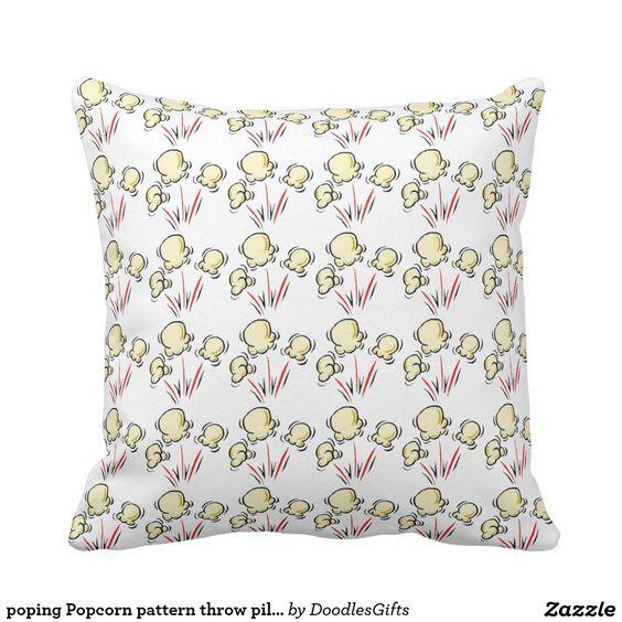 poping Popcorn pattern throw pillow