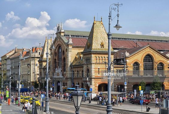 view of central market on a busy weekday in budapest.