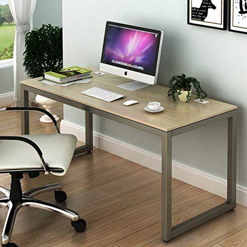 Shw Home Office 55 Inch Large Computer Desk Silver Frame W Grey Top Large Computer Desk Desks For Small Spaces Modern Computer Desk