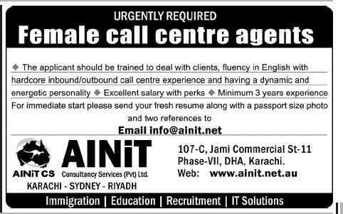 AINiT Consultancy Services Pvt Ltd Female Call Center Agent Jobs - inbound call center agent sample resume