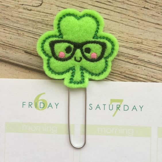 Shamrock Planner Clips and Bookmarks are perfect for keeping your page marked or to use as a simple yet functional decoration. Also, a great