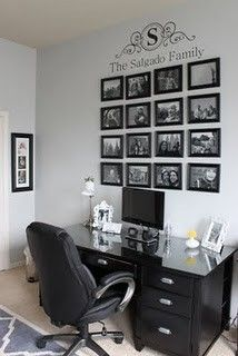 Monogram... I love this idea for an office, living room, or family room...