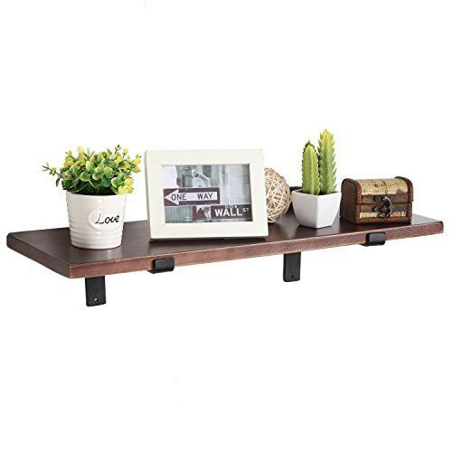 Mygift 24 Inch Wall Mounted Wood Floating Shelf With Blac Https Www Amazon Com Dp B01jbq040y Floating Shelves Wood Floating Shelves Wooden Storage Shelves