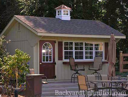 12x16 garden quaker shed with optional bar and cupola perfect for studio home office rec room or just stylish storage bay window