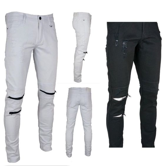 Details about KAYDEN K. Men's Black Piping Zipper Skinny Fit Jeans ...
