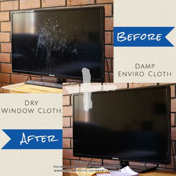 Norwex Enviro cloth and window cloth. Clean your TV screen with a damp (water only) Enviro cloth and finish with a window cloth...and voila! PLEASE NOTE: Before you clean your TV, make sure it has been switched off for a couple of hours prior, so there is no residual static charge