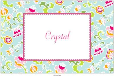 Personalized Placemat by Whitney English - Amy Floral Turquoise ($18.00)