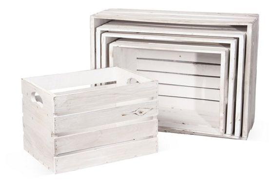 5-Pc Nesting Crate Set, Whitewash