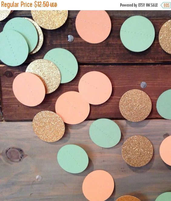 DECEMBER SALE Mint Peach and Glittery Gold by PartyMadePretty