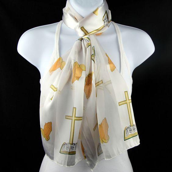 cross womens scarf christian religious scarfs gift