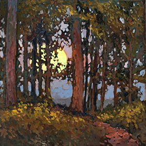 Deep Woods Moonrise by Jan Schmuckal Oil ~ 8 x 8
