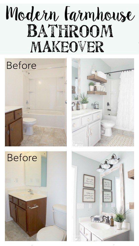Five Tiny Bathroom Decorating Ideas Farmhouse Style White And Sea Salt Blue Bathroom Makeover Modern Farmhouse Bathroom Bathroom Makeover Bathrooms Remodel