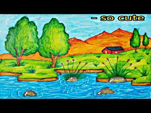 Haw To Daw Landscape تعليم الرسم رسم منظر طبيعي بقلم الرصاص خطوة خطو Art Painting Cute