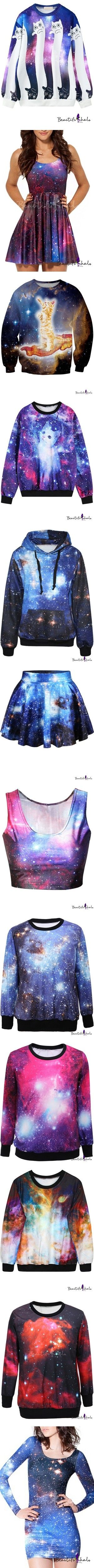 galaxy collection by rebecca-bh on Polyvore featuring tops, hoodies, sweatshirts, sweat shirts, cat hoodies, long sleeve tops, long sleeve hoodie, galaxy hoodie, dresses and purple tank dress