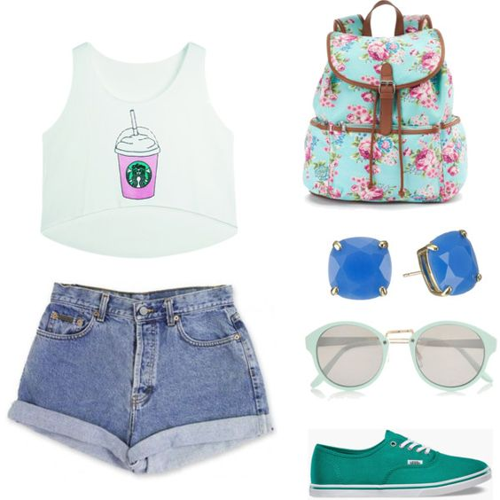 Summer ocean (by me)   on Polyvore featuring polyvore fashion style Vans Candie's Kate Spade River Island Calvin Klein