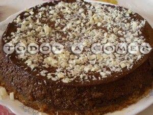 Receta: Tarta de  bizcocho y flan de chocolate