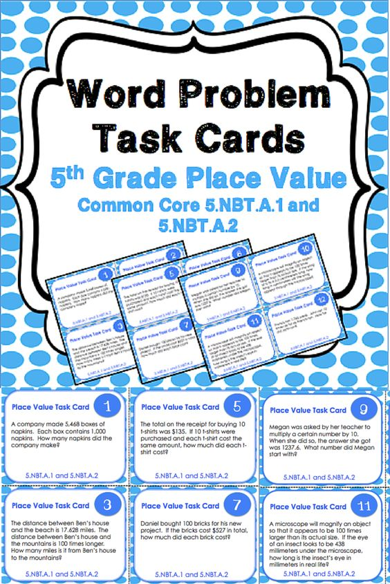 5th Grade Math Place Value Word Problems - 1000 images ...
