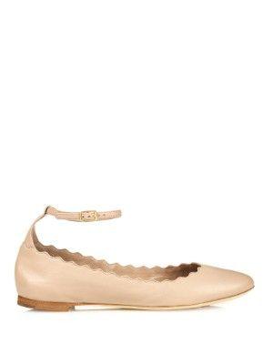 Lauren scalloped-edge ankle-strap flats | Chloé | MATCHESFASHION.COM