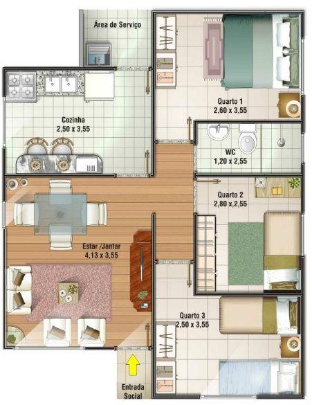 planos de casas sencillas de 3 habitaciones , Buscar con Google