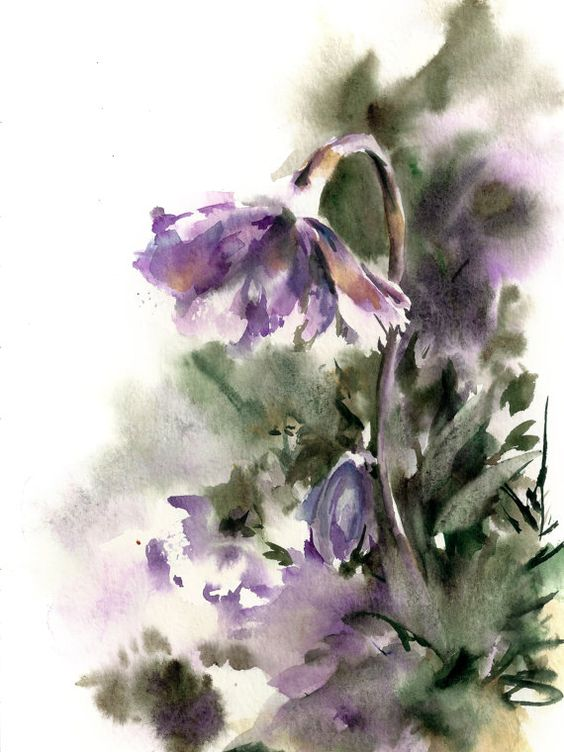 Green originals and flower watercolor on pinterest for Abstract watercolour flowers