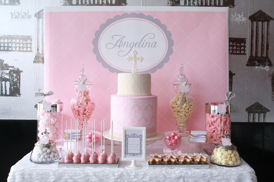 Angelina's Pretty pink Christening Dessert candy table  www.montresor.com.au