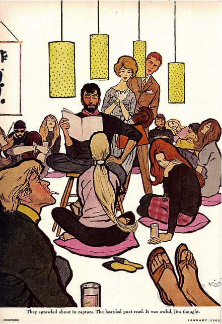 'beatnik party' scene.  Illustrated by Frederic Varady  January 1960, Cosmopolitan magazine.: