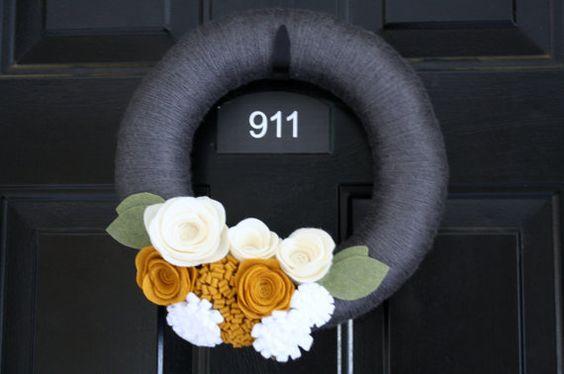 Yarn Wreath Handmade Decoration- Flirty Fall 12 inch