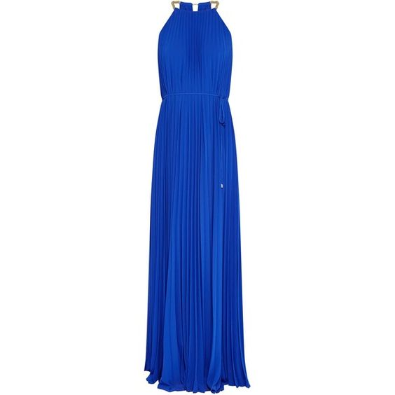 Ted Baker Hannaa Pleated maxi dress (£209) ❤ liked on Polyvore featuring dresses, blue, women, tie waist maxi dress, ted baker dresses, metallic maxi dress, maxi dress and blue maxi dress