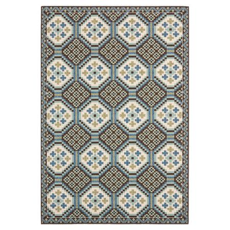 Anchor your patio seating group or dining table in classic style with this artfully loomed indoor/outdoor rug, showcasing a tile-inspired motif for eye-catch...
