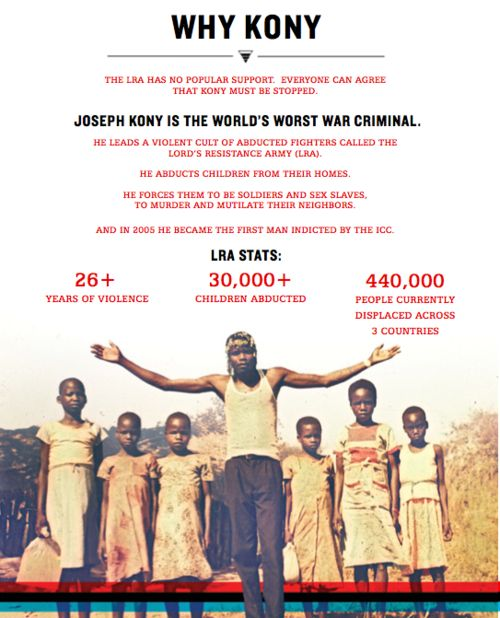 "KONY 2012. this is one of the most important things going on in the world, it's about time it gets the attention it needs. Read about it, watch the film ""KONY 2012"" on youtube. Become educated. These are CHILDREN. The children are our future but how can they be when they themselves don't have one?"