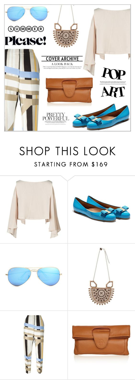 """Color Pants for Summer"" by letiperez-reall on Polyvore featuring Salvatore Ferragamo, Ray-Ban, Anisha Parmar London, MSGM and Nadia Minkoff"