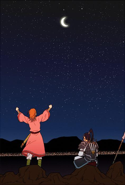 月を見つめる二人
