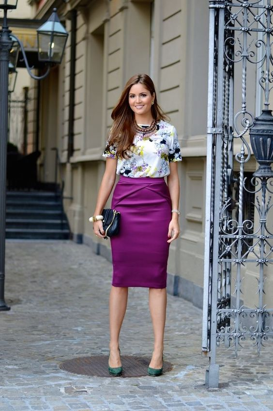 purple silk skirt with floral print blouse