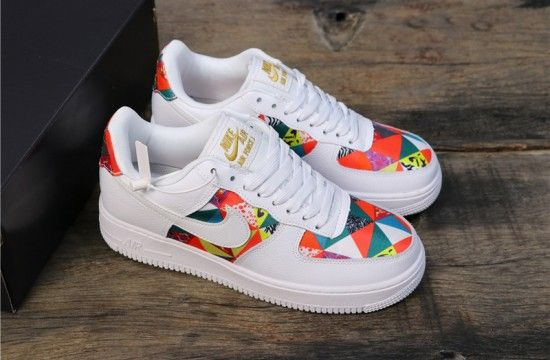 Nike Air Force 1 Low Square Pattern Custom White Muti (With