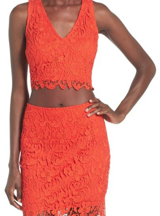 Orange Lace Crop-Top