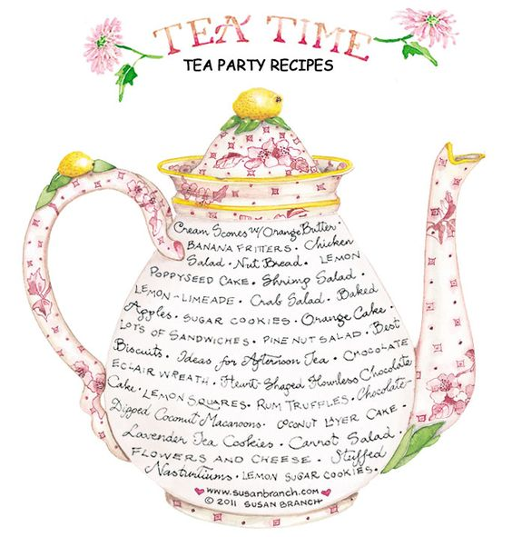 Tea party recipes. Click on the recipe that you see on the pot that you're interested in and it'll pull it up for your viewing pleasure.