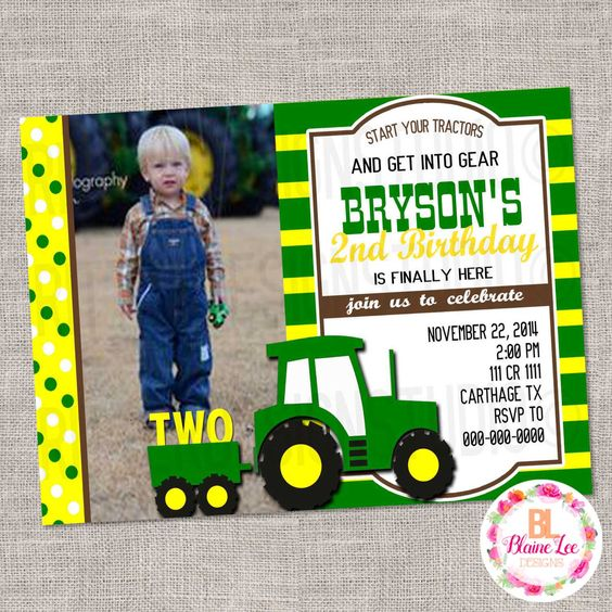 Tractor Birthday Invitation - Digital File by BlaineLeeCo on Etsy https://www.etsy.com/listing/469837291/tractor-birthday-invitation-digital-file