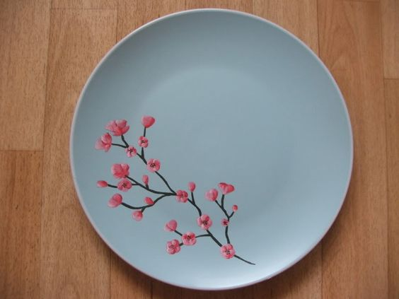Ceramic painting ideas ceramic painting cherry blossom for Where to buy ceramic plates to paint