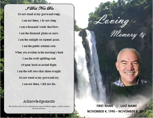 Memorial Order of Service Program Template \/ Waterfall Funeral - free funeral announcement template