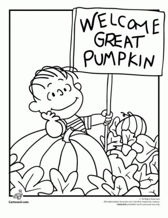 Linus Waiting For The Great Pumpkin Coloring Page Kidswoodcrafts In 2020 Pumpkin Coloring Pages Charlie Brown Halloween Halloween Coloring Pages